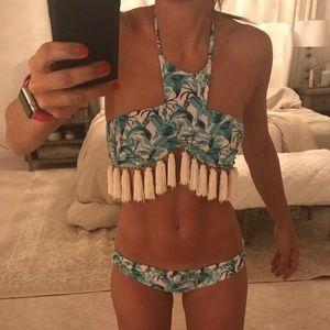 Beach riot turquoise floral bikini top S/ bottom M